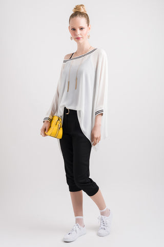 Rib Drape Cape Top - White