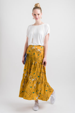 Tiered Skirt - Gold Print