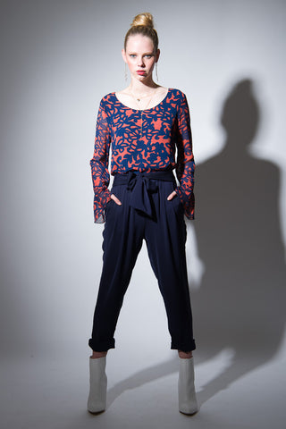 Bell Sleeve Top - Navy print