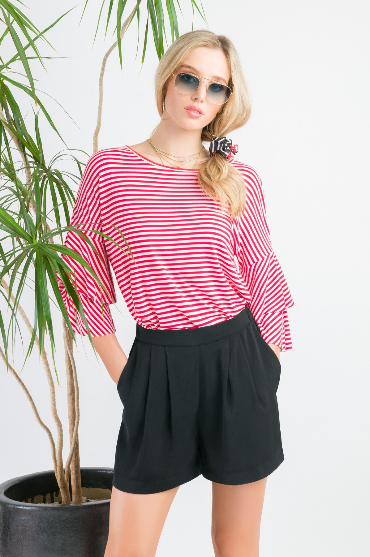 Flutter Casual Tee - White with Red stripes