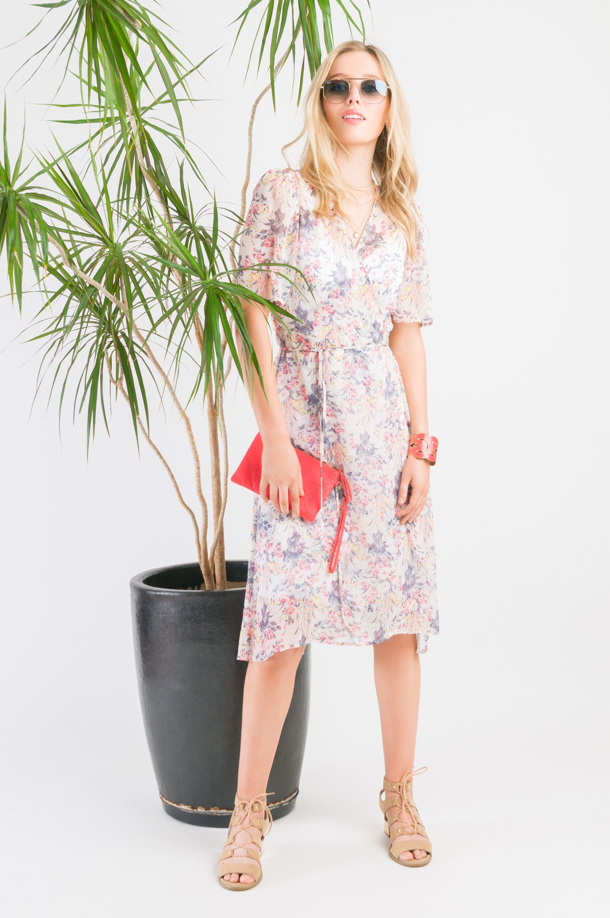 Short Wrap Dress - Red floral print