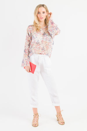 Tie Sleeve Top - Red Floral print