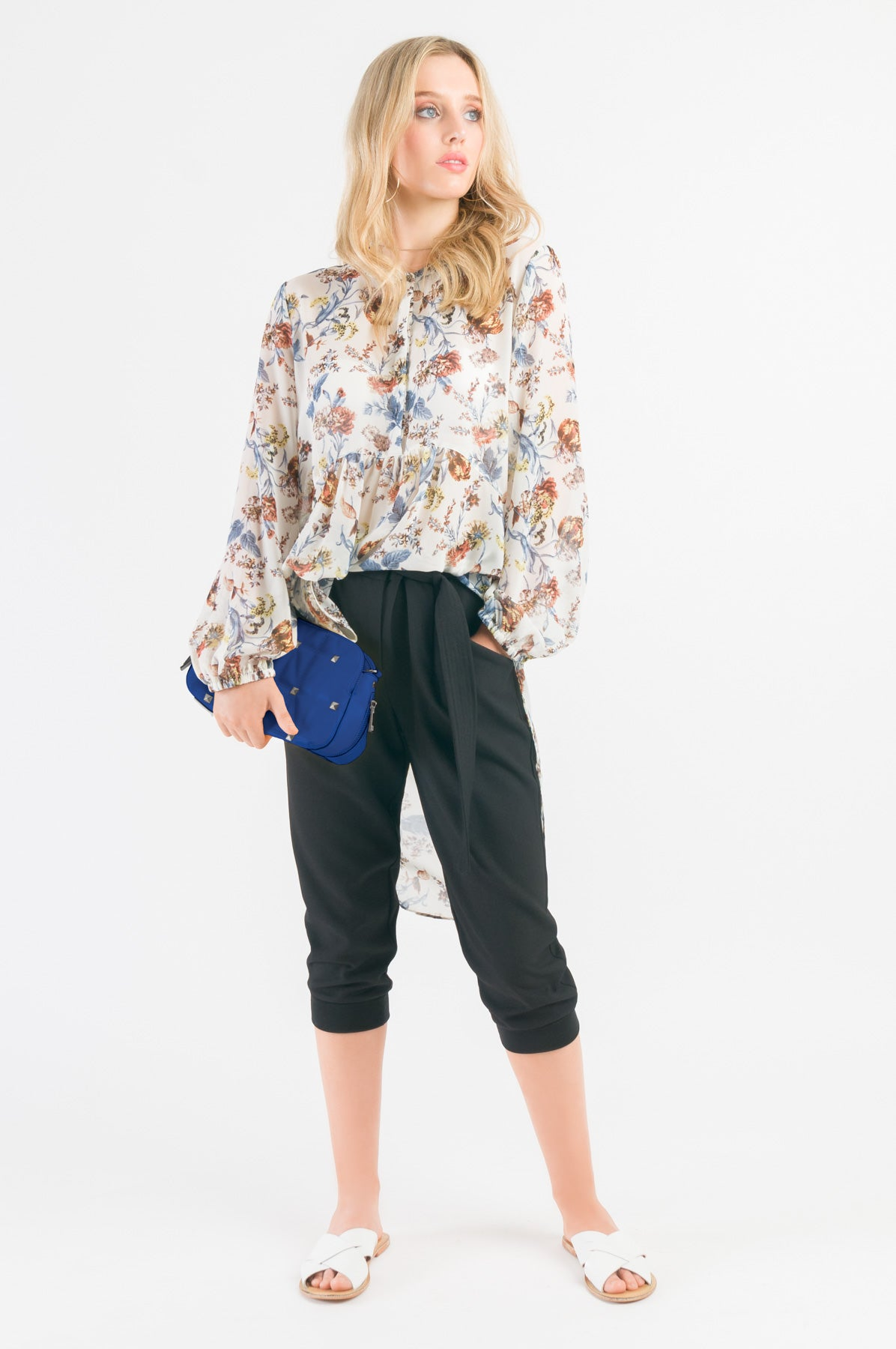 High Low Shirt - White floral