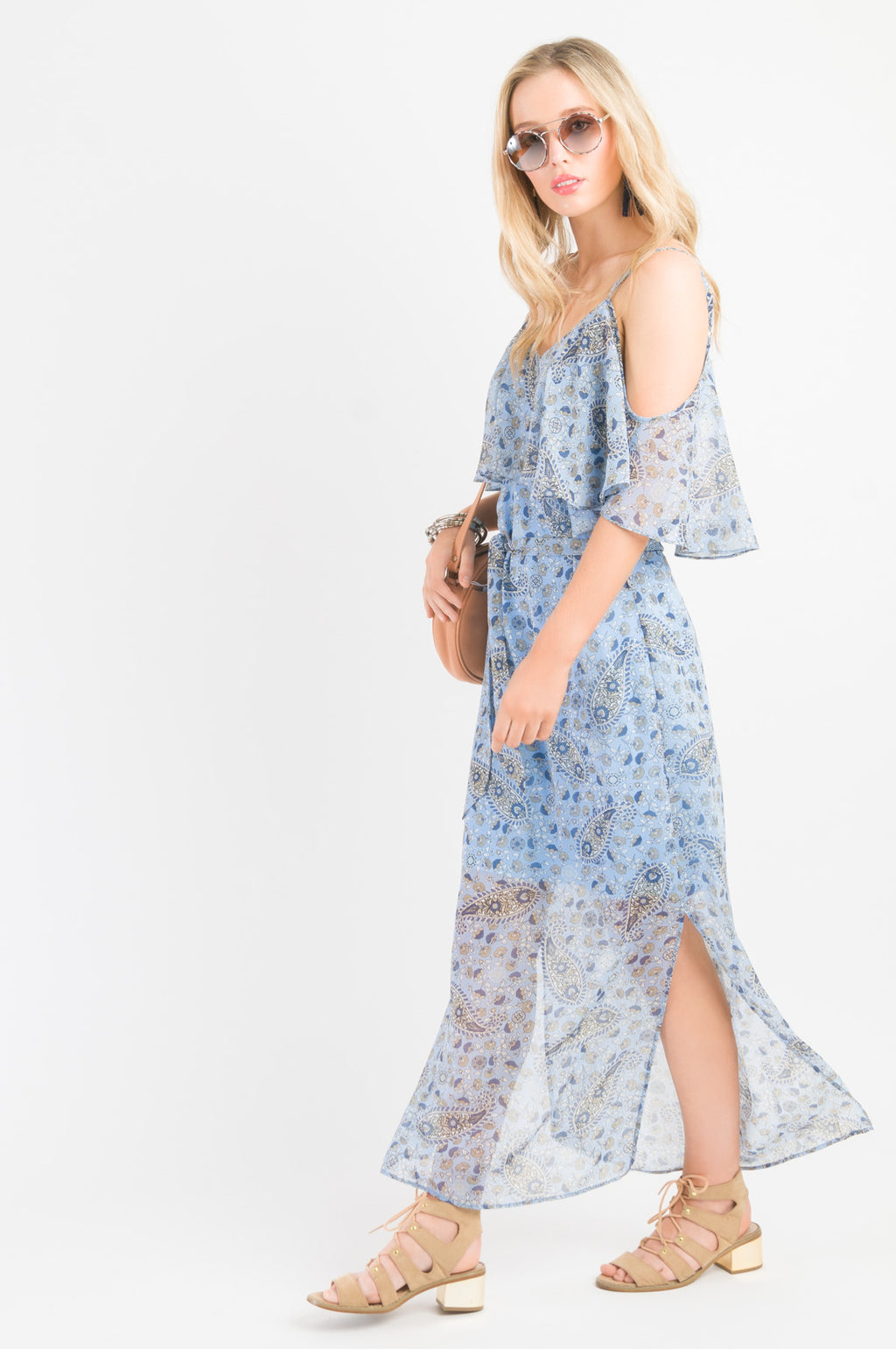 Ruffle Cami Maxi Dress - Blue print