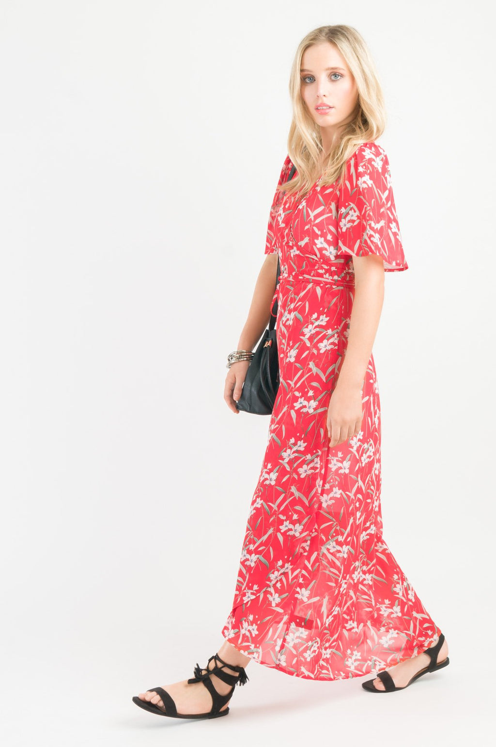 Wrap Dress - Red print