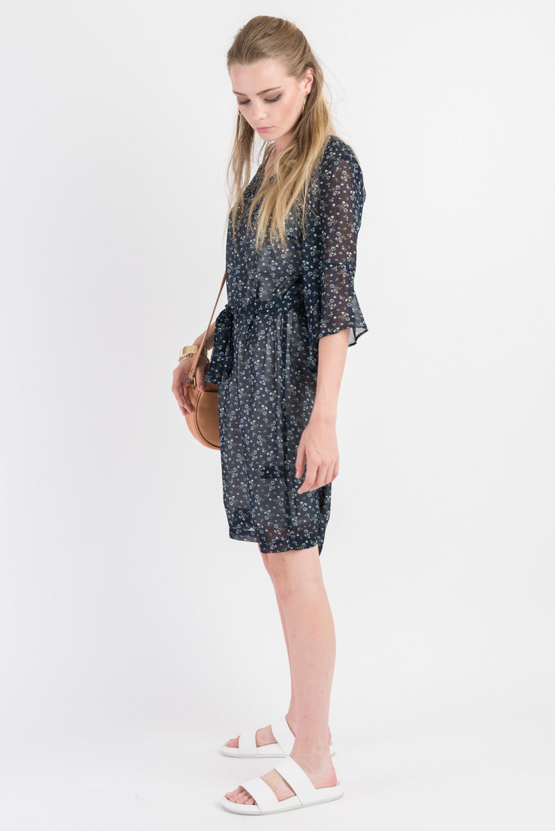 V Neck Shift Dress - Navy print