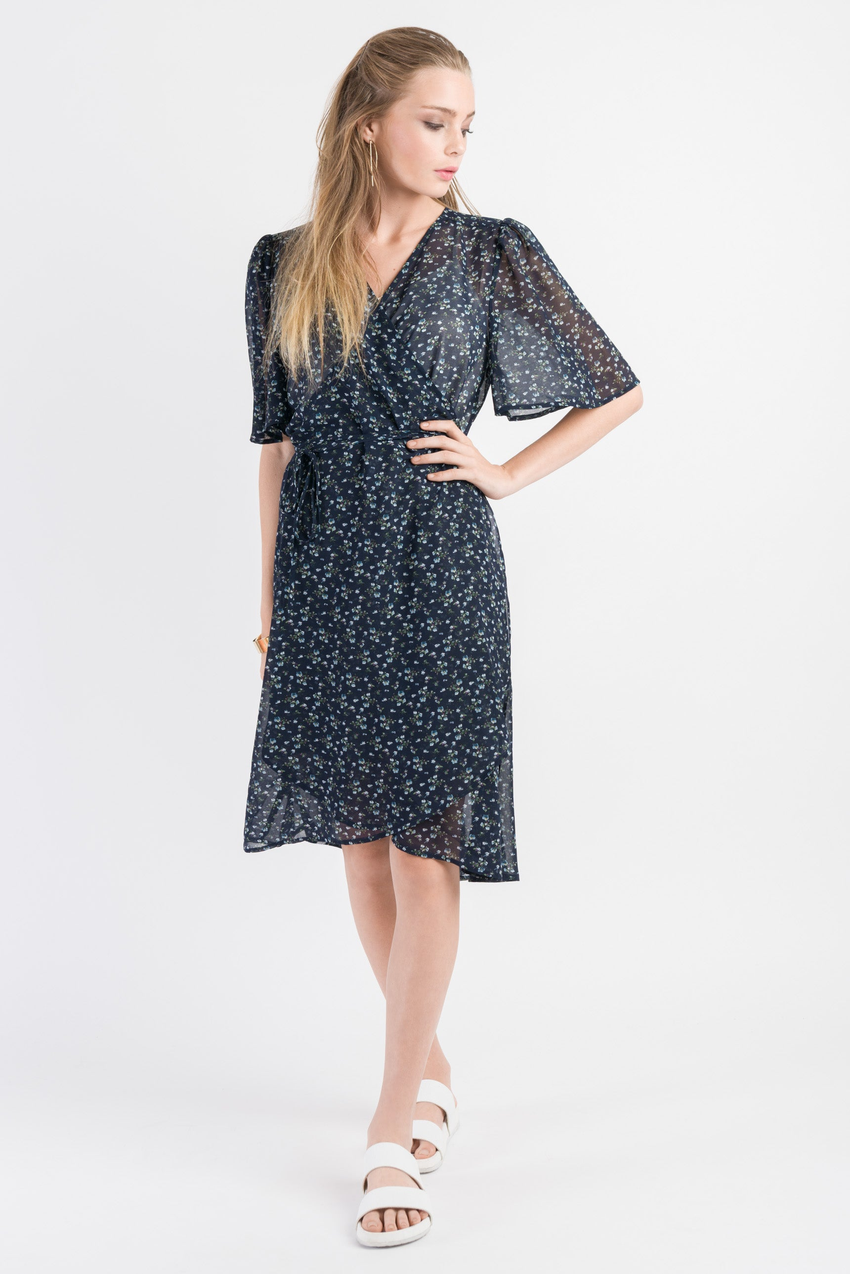 Short Wrap Dress - Navy print