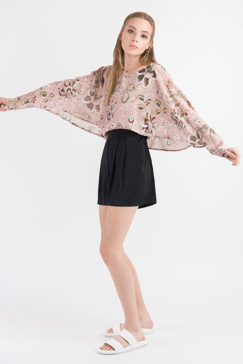 Split Cape Sleeve Top - Blush print