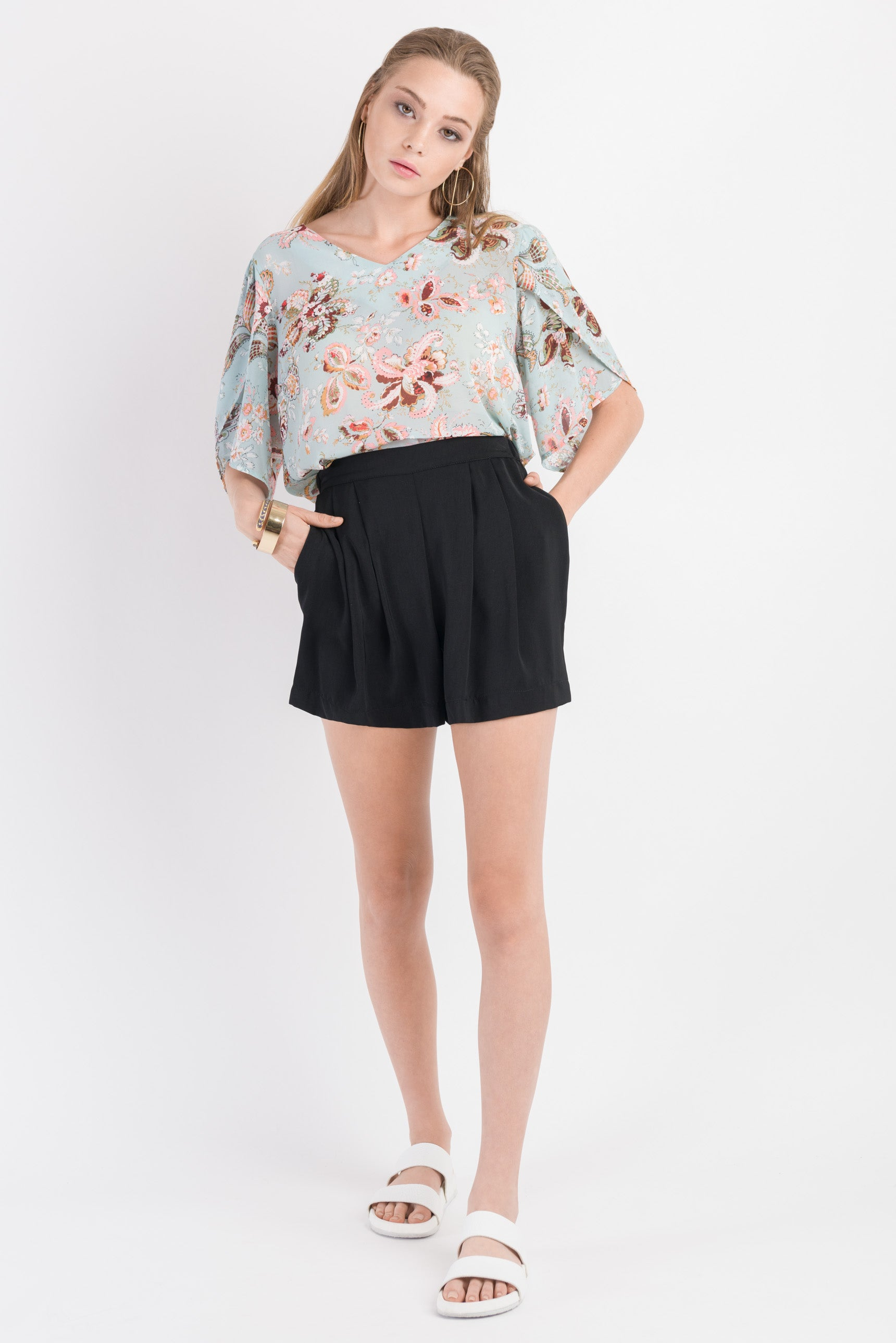 Puff Sleeve Top - Mint print