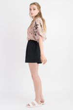 Puff Sleeve Top - Blush print