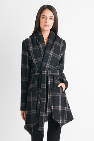 Wrap Coat - Charcoal Check