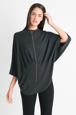 Gather Detail Sweater - Charcoal Melange