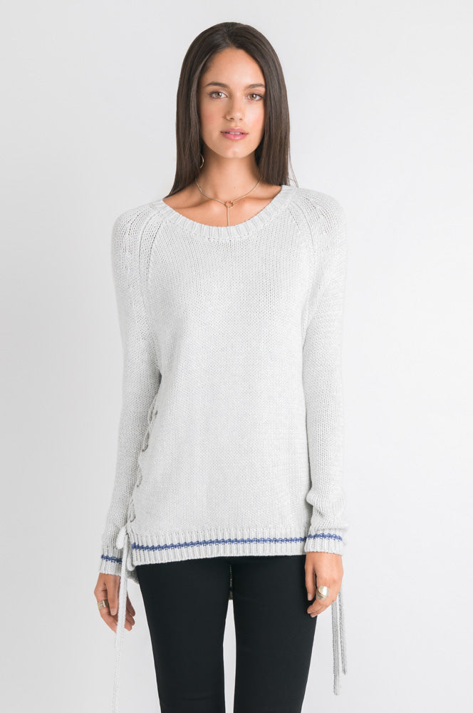 Lace Up Sweater - Light Grey