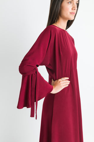 Tie Sleeve Dress - Merlot
