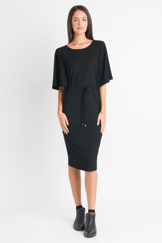 Flutter Sleeve Dress - Black