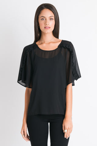 Ruffle Sleeve Top - Black