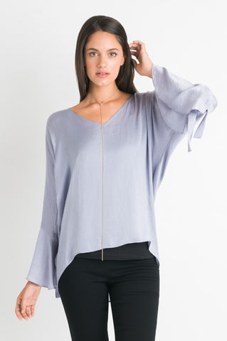 Tie Sleeve Top - Baby Blue