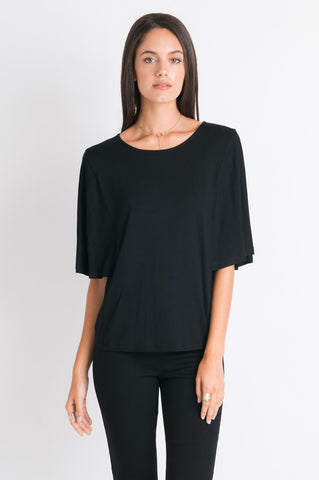 Flutter Sleeve Tee - Black