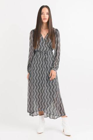 Wrap Dress - Black Spot