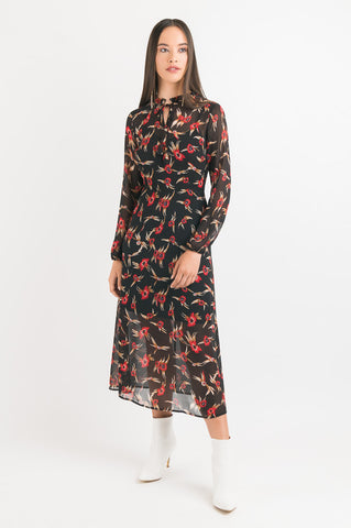 Frill Neck Dress - Black Floral print