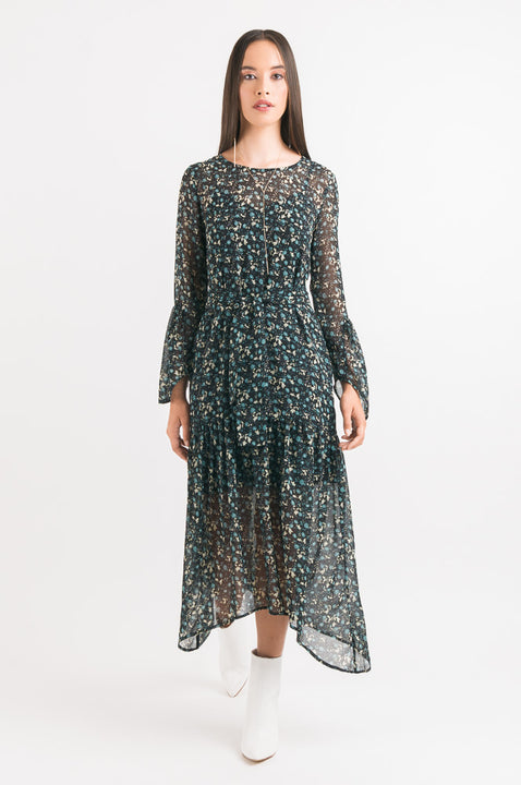 Flared Panel Dress - Green Floral print