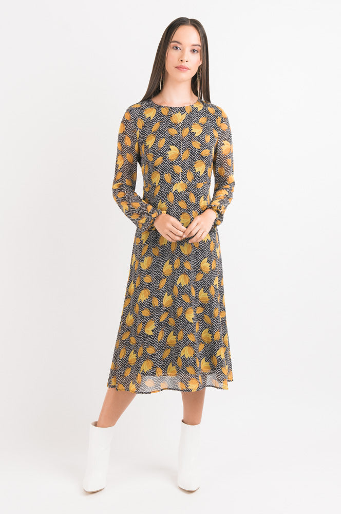Vintage Swing Dress - Gold Leaf print