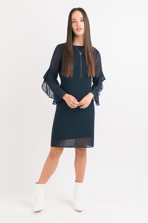 Twist Ruffle Sleeve Dress - Navy
