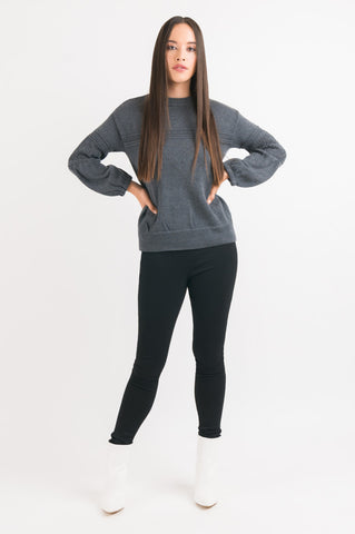 Pointelle Sweater - Grey