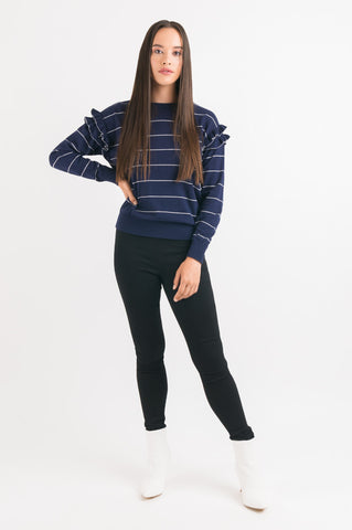 Ruffle Sweater - Navy Stripe