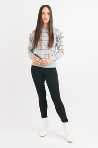 Ruffle Sweater - Grey Stripe