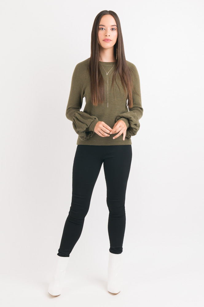 Puff Sleeve Sweater - Khaki