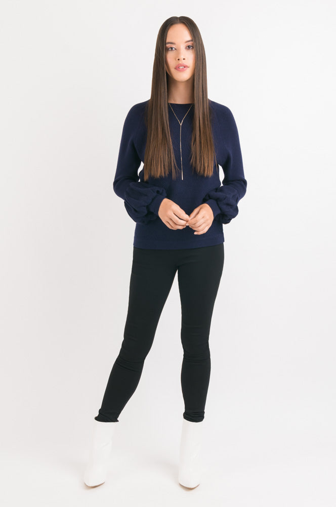 Puff Sleeve Sweater - Navy