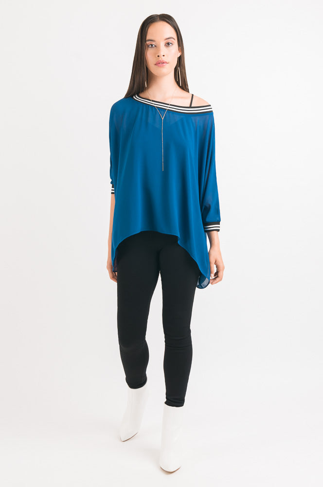 Rib Drape Cape Top - Blue