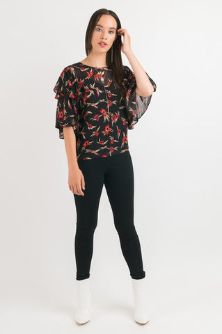 Double Layer Sleeve Top - Black Floral print