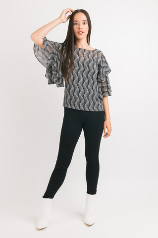 Double Layer Sleeve Top - Black Spot print