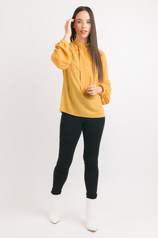 Tie Neck Shirt - Gold