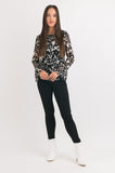 Bell Sleeve Top - Black print