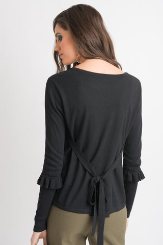 Tie Back Sweater - Black