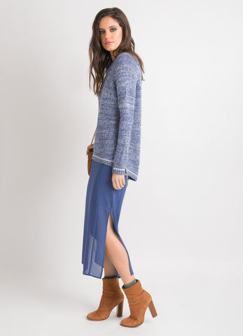 Lace Up Sweater - Denim Blue