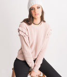 Stripe Ruffle Sweater - Blush
