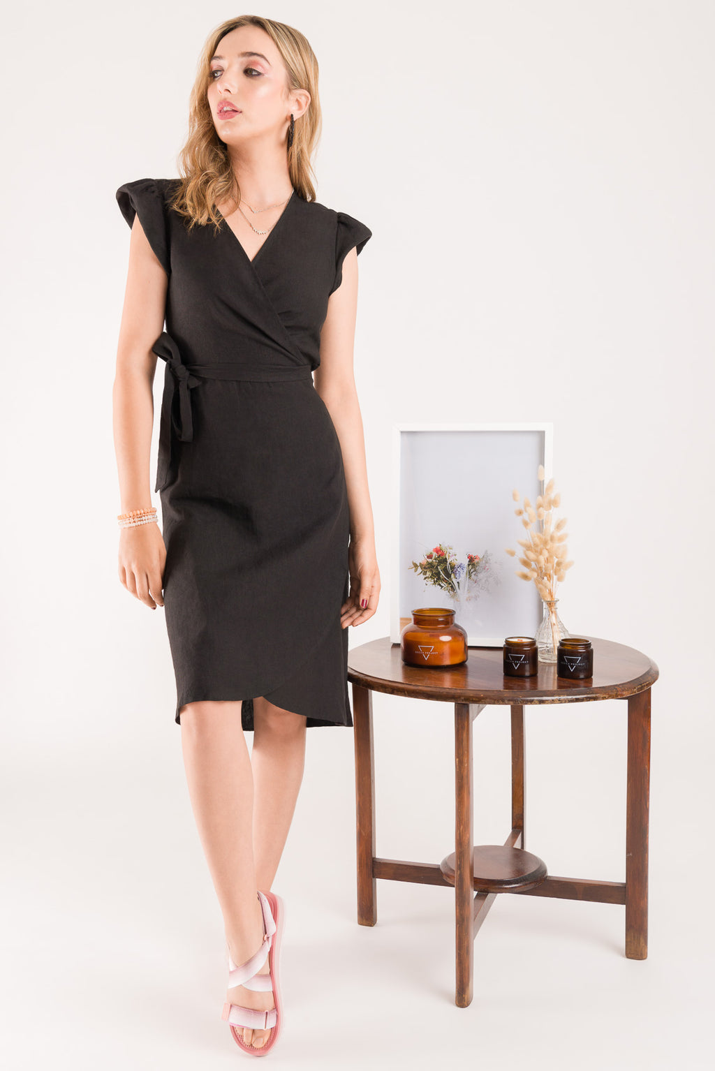 Linen Wrap Dress - Black