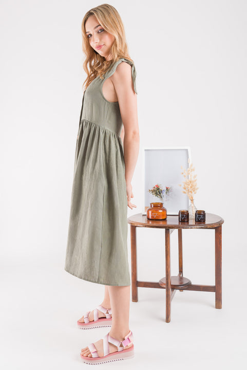 Button Dress - Sage