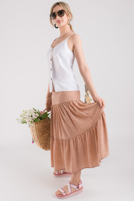 Tiered Maxi Skirt - Blush Video