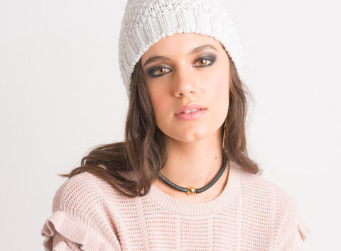 Textured Beanie - Light Grey