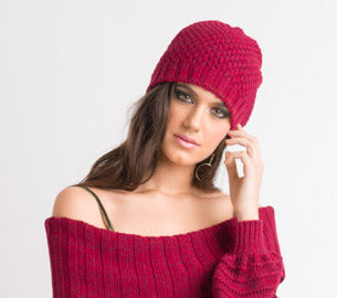 Textured Beanie - Deep Red