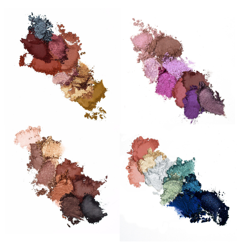 Eyeshadow powder swatches of all 36 shades from blacks, blues, greens, golds, pinks, purples, reds, etc.