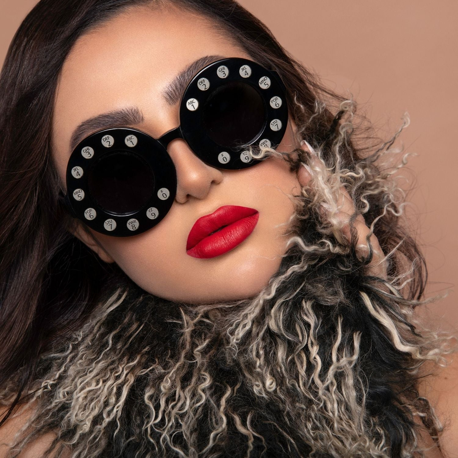 Red lip model funky scarf and sunglasses