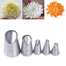 Load image into Gallery viewer, PETAL STAINLESS STEEL ICING PIPING NOZZLE 5PCS/SET