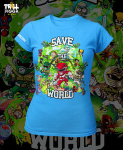 "Women's ""Save the World"" Tee (Aqua)"