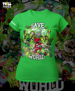 "Women's ""Save the World"" Tee (Green)"